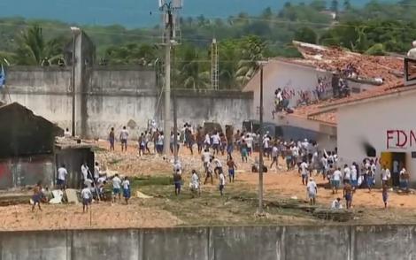 Presidiários de Alcaçuz voltaram a entrar em confronto nesta quinta-feira (19), depois de 26 mortos no fim de semana (Globonews/ Reprodução 17.01.2017)