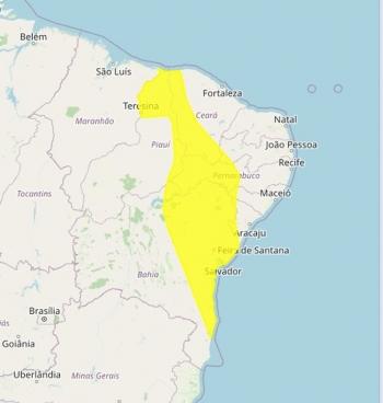 Alerta vale para 17 municípios da Paraíba — Foto: Reprodução/Inmet
