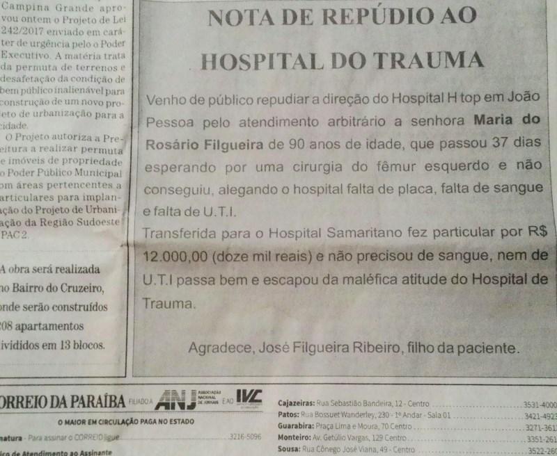 Nota de repúdio. Reprodução jornal Correio da Paraíba